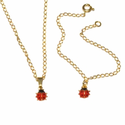 1-6004-f4 18kt Brazilian Gold Layered Girl's Lady Bug Necklace and Braceletlet Set.