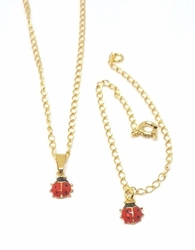 1-6004-f5 18kt Brazilian Gold Layered Kids Lady Bug Set