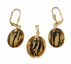 1-6005-D1 Animal Print Earring and Pendant Set
