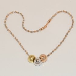 1-6007-e1 Gold Plated Three Tone Necklace