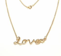 "1-6008-f6 18kt Brazilian Gold Layered Love Necklace. 18 inches length, 2.5 inch wide ""Love"" tag."