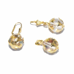 1-6009-f2 18kt Brazilian Gold Layered Decorated Ball Earring and Pendant Set.