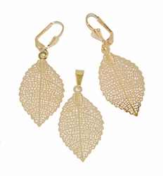 1-6012-D1 Small Leaf Earring and Pendant Set