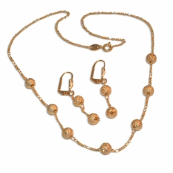 "1-6012-e10 Satin Balls Necklace and Earrings Set. 18"" necklace, 2"" earrings, 6mm balls."