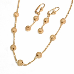 """1-6012-e8 Gold Plated Bead Earring and Necklace Set. Earrings 2"""". Necklace is 18"""" and Balls are 6mm."""