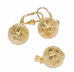 1-6024-D1 14mm Balls Earring and Pendant Set