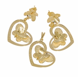 1-6031-D1 Heart Butterfly Earring and Pendant Set