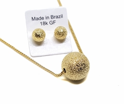 1-6037-f9 18kt Brazilian Gold Filled Star Dust Necklace and Earrings Set. Earrings 6mm, Pendant 12mm. Necklace 17 inches.