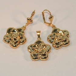 1-6049-e6 Flower Earring and Pendant Set 19mm