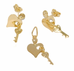 1-6056-D1 Heart Key Earring and Pendant Set