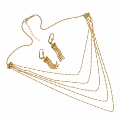 1-6063-e12 Gold Filled Flashy Necklace and Earrings set.