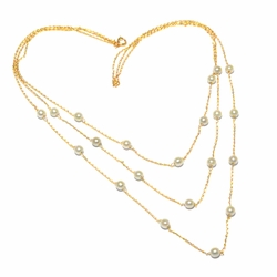 1-6069-f2 18kt Brazilian Gold Layered Triple Pearl Necklace.