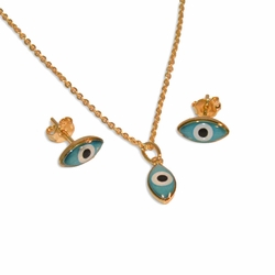 "1-6071-e10 Evil Eye Necklace Earring and Pendant Set. 18"" necklace, 6x13mm eye."