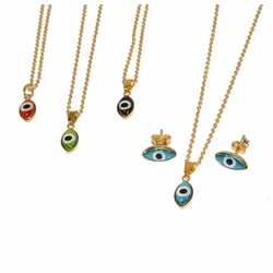 1-6071-e12 Evil Eye Set with Gold Filled Chain. 4 Colors,