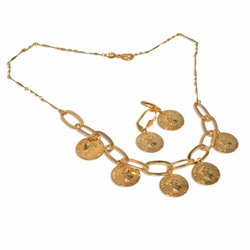 "1-6075-e9 British Coins Necklace and Earring set. 18"" necklace, 18mm coins."