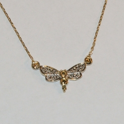 "1-6087-e6 Two Tone Dragonfly Necklace (16""-18"")"