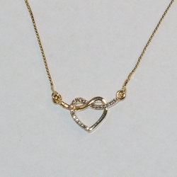 "1-6087-e7 Two Tone Heart Necklace (16""-18"")"