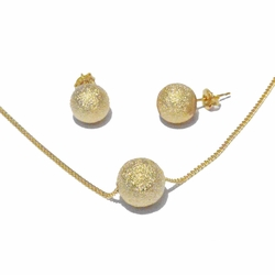 1-6034-f2 18kt Brazilian Gold Layered Gold Dust Ball Earring Necklace and Pendant Set