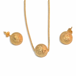 """1-6092-e9 Gold Dust Balls Earring and Necklace set. 18"""" Necklace, 12mm balls."""