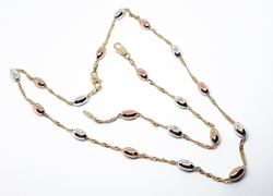 "1-6103-f10 18kt Brazilian Gold Layered Three Tone Beaded Necklace and Bracelet Set. 18"" necklace, 7"" bracelet, 5mm beads."