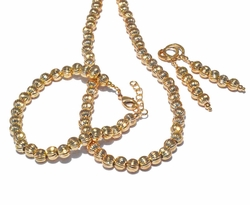 1-6104-f3 18kt Brazilian Gold Layered Diamond Cut Beads Necklace earrings and Bracelet Set.