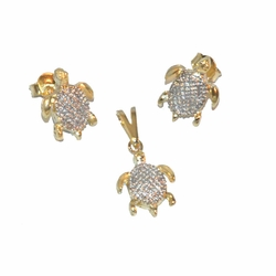 1-6115-e12 Gold layered, two tone turtles, earring and pendant set, 11mm,