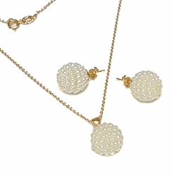 1-6143-f7 18kt Brazilian Gold Layered Micro Pearls Earring Pendant and Necklace Set. 18 inches, 15mm balls.