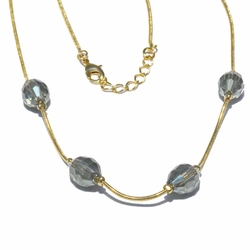 1-6148-f3 18kt Brazilian Gold Layered Snake Necklace with Faceted Glass Beads.