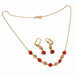 "1-6170-e9 Red Coral Necklace and Earring Set. 18"" necklace, 6mm beads."