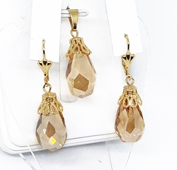 "1-6170-f11 18kt Brazilian Gold Layered 12 mm Faceted Crystal 1-3/4"" Drop Earrings and Pendant Set. 3 colors available."