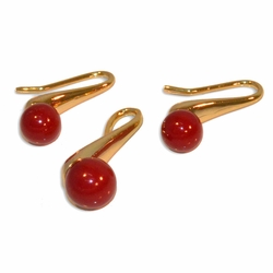 "1-6175-e10 Gold Plated Colored Ball Earring and Pendant Set. 1.25"" earring length, 10mm balls. 7 colors available."