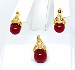 "1-6177-g1 Lady ""D"" Earring and Pendant Set. 3 colors available."