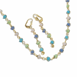 1-6180-f2 18kt Brazilian Gold Layered Multicolor Necklace and Earrings Set.