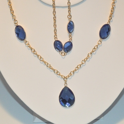 1-6184-e3 Crystal Necklace and Bracelet Set (2 Colors Available)
