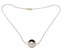 1-6207-f7 18kt Brazilian Gold Layered Black and White Ball necklace. 18 inch necklace, 16mm ball.