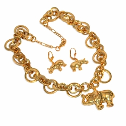 "1-6218-e9 Gold Plated Elephant Necklace and Earring Set. 18"" necklace, 1.25"" earrings, 1.5"" elephant piece."