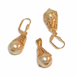 "1-6227-e9 Fancy Filigree Pearl Earring and Pendant set. 12mm pearls, 1.25"" earrings."