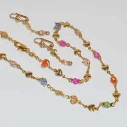 1-6394 Multicolor Necklace and Earrings Set