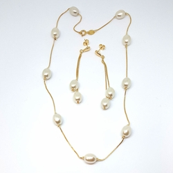 1-6201-f15 Gold Layered Pearl Set