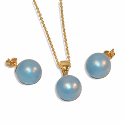 "1-6253-e9 Colored Pearl Earring Pendant and Necklace set. 18"" necklace, 12mm pearls."