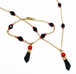 "1-6256-f11 18kt Brazilian Gold Layered Azabache and 1"" Figa Hand (manito de Azabache) 18"" Necklace and 7-1/2"" Bracelet Set. Beads 6mm."