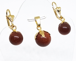 "1-6258-f10 18kt Brazilian Gold Layered Venturina (Gold Sand Stone) Earring and Pendant Set. 12mm pendant, 1.25"" earrings."