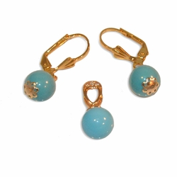 "1-6262-e10 Gold Plated Turquoise Balls Earring and Pendant set. 1.25"" earrings 10mm balls."