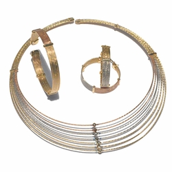 1-6265-f4 18kt Brazilian Gold Layered Three ToneChoker Necklace, bangle and Hoop Earrings Set.