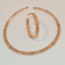 1-6277-e6 Rose Gold Plated Chocker and Cuff Bangle Set. 10mm wide.