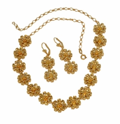 1-6278-D11 Flower Earring and Necklace Set