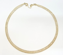 1-6288-f6 18kt Brazilian Gold Layered Mesh Necklace with Caged Crystals. 6mm wide, 18 inch length.