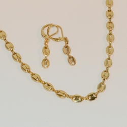 "1-6298-e6 Solid Round Marine Link Necklace and Earring Set. 18"" necklace, 5mm wide."