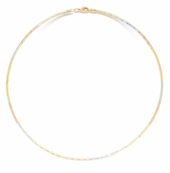 1-6300-f5 18kt Brazilian Gold Layered Three Tone Wire Choker