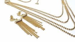 "1-6063-f9 18kt Brazilian Gold Filled Flashy Triple Necklace and Earrings Set. Necklace 18"" to 20"" adjustable length. Earrings 2 inches long."